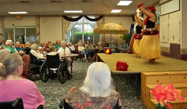 Residents of Winslow Gardens and Linn Health Care Center enjoyed the performance of Hawaiian hula dances